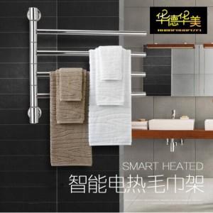 华德华美 电热毛巾架免打孔不锈钢旋转家用壁挂卫生间置物
